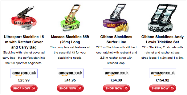 Slacklines come in various types